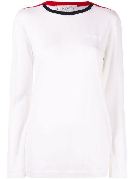 Biały top z długimi rękawami wełniany Etre Cecile