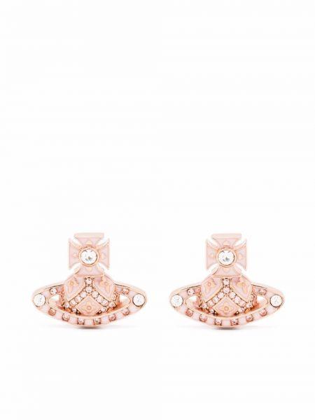 Różowe kolczyki sztyfty srebrne Vivienne Westwood