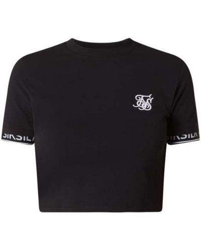 Czarna bluzka krótki rękaw z paskiem Sik Silk