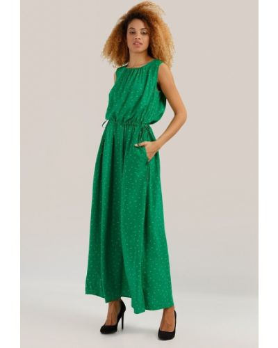 Платье макси в пол - зеленое Finn Flare