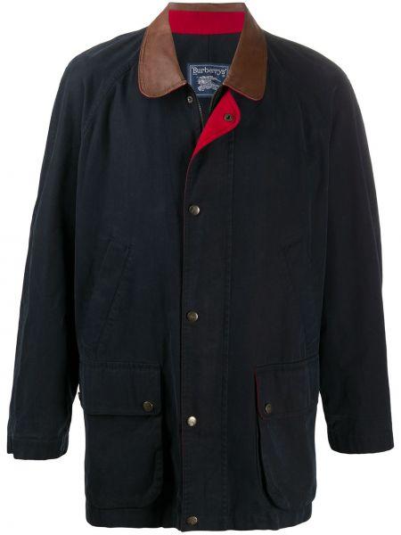 Кожаное синее длинное пальто с воротником на кнопках Burberry Pre-owned