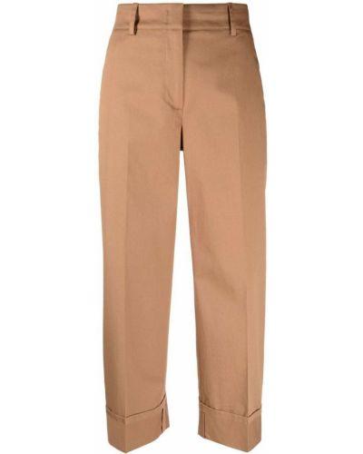 С завышенной талией хлопковые коричневые укороченные брюки Seventy