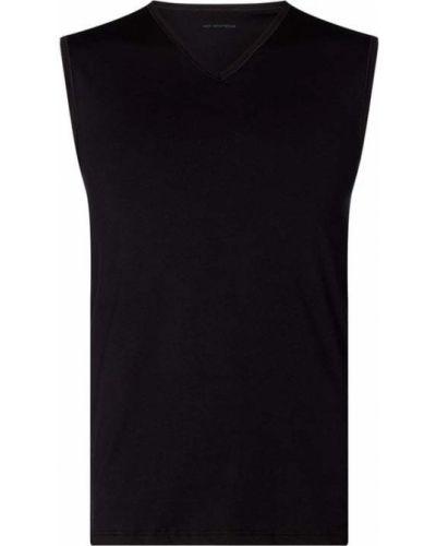 Bawełna bawełna czarny top z dekoltem Mey