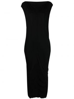 Трикотажное черное платье мини с короткими рукавами Rick Owens Lilies