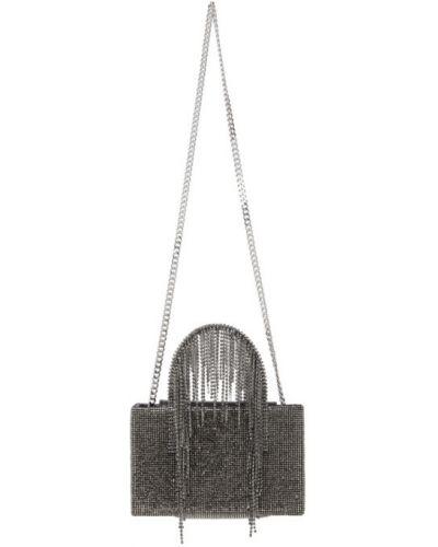 Czarna torebka z frędzlami srebrna Kara