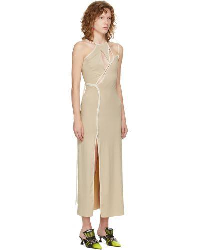 Biała satynowa sukienka długa Ottolinger