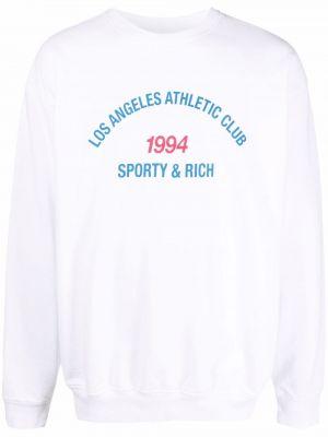 Джемпер с принтом - белый Sporty And Rich
