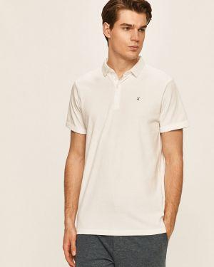 Biały t-shirt bawełniany zapinane na guziki Clean Cut Copenhagen