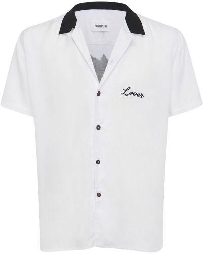 Biała koszula z haftem The People Vs