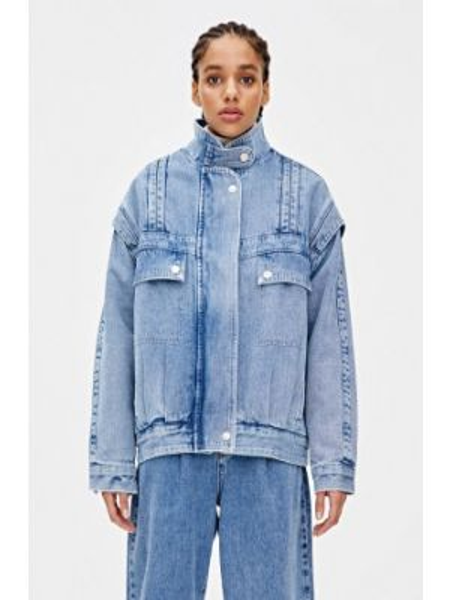 Джинсовая куртка осенняя синий Pull&bear