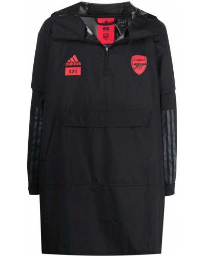 Czarny płaszcz przeciwdeszczowy z długimi rękawami z printem Adidas
