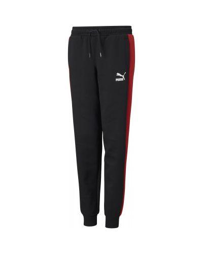 Прямые хлопковые черные спортивные брюки Puma