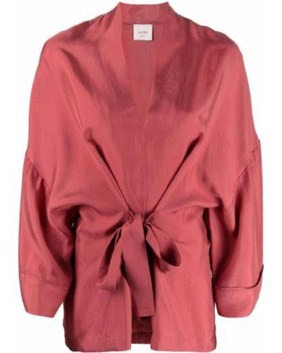 Różowy sweter z dekoltem w serek Alysi