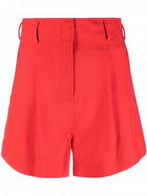 Шерстяные красные с завышенной талией шорты Racil