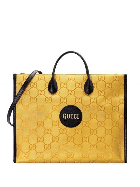 Żółty skórzany torba na ramię z kieszeniami z łatami Gucci