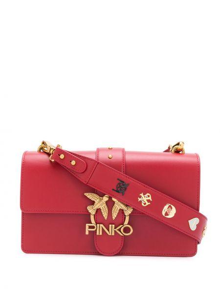 С ремешком красная кожаная сумка на плечо Pinko