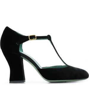 Черные кожаные туфли круглые на каблуке Paola D'arcano