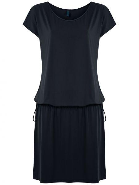 Черное прямое платье мини с вырезом с короткими рукавами Lygia & Nanny
