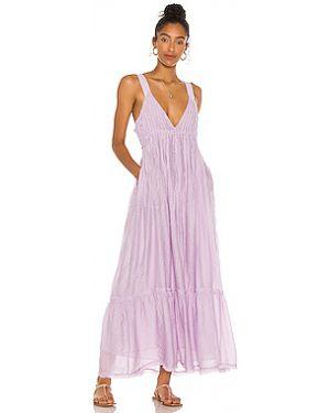 Хлопковое фиолетовое платье макси свободного кроя Free People