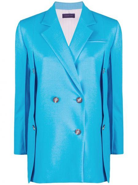 Синий пиджак двубортный с карманами Eudon Choi