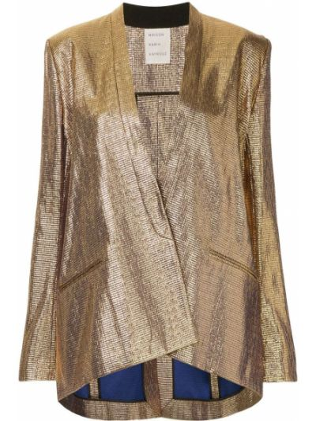 Однобортный удлиненный пиджак золотой Maison Rabih Kayrouz