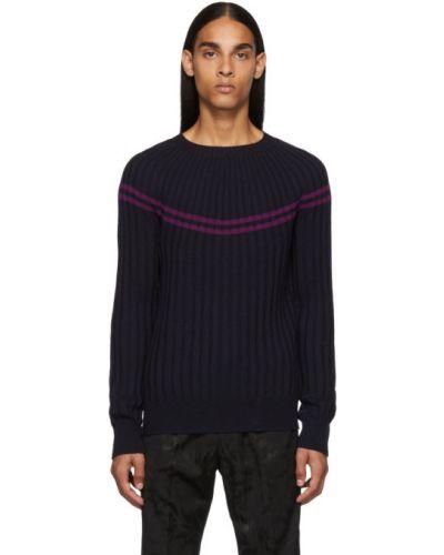 Шерстяной длинный свитер в полоску с воротником Dries Van Noten
