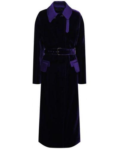Фиолетовое кожаное пальто с поясом Tom Ford