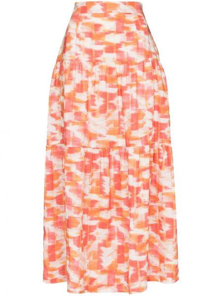Biała prążkowana spódnica midi z printem Three Graces