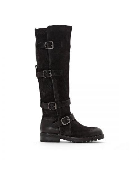 Черные ботинки на каблуке на каблуке круглые с подкладкой Mjus