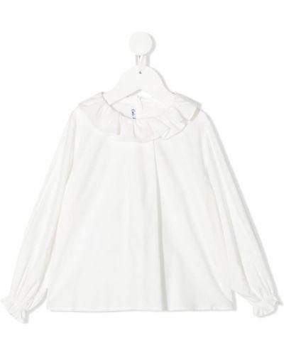 Белая блузка с длинными рукавами с воротником Little Bear