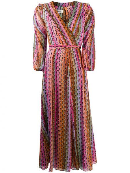 Шелковое розовое платье макси с V-образным вырезом с драпировкой Dvf Diane Von Furstenberg