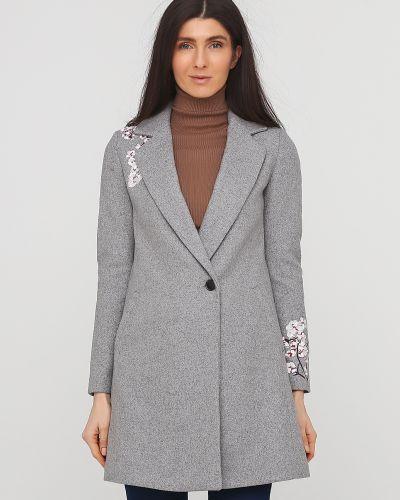 Пальто с вышивкой - серое Etam