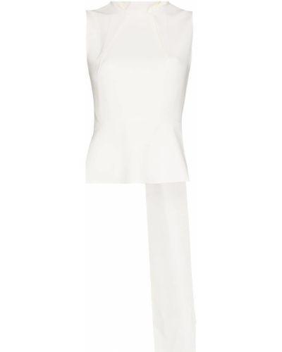 Biała koszulka z wiskozy bez rękawów Roland Mouret
