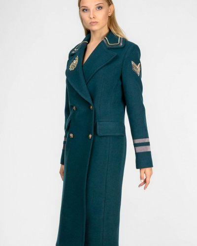 Зеленое пальто двубортное Raslov