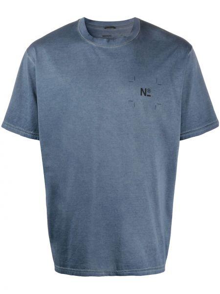 С рукавами хлопковая синяя футболка с круглым вырезом Nemen