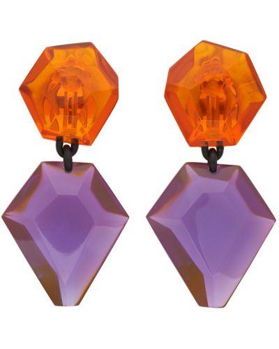 Фиолетовые серьги-гвоздики прозрачные Monies