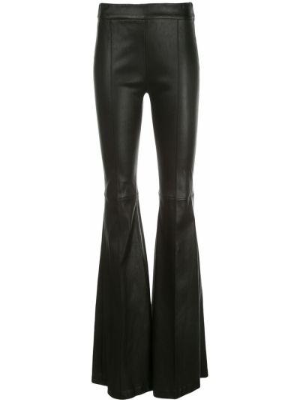 Кожаные черные расклешенные брюки с высокой посадкой Rosetta Getty