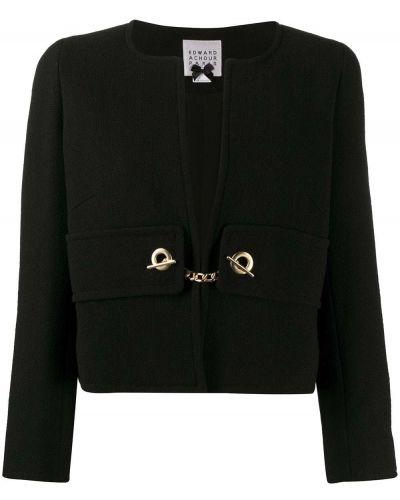 Шерстяной черный удлиненный пиджак Edward Achour Paris