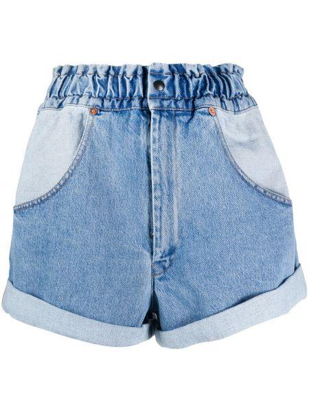Джинсовые шорты с завышенной талией - синие Forte Dei Marmi Couture