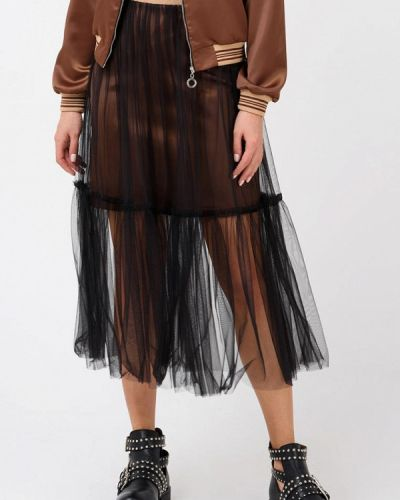 Плиссированная юбка черная Ricamare