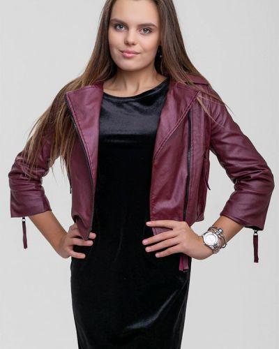 Кожаная куртка осенняя бордовый Sfn