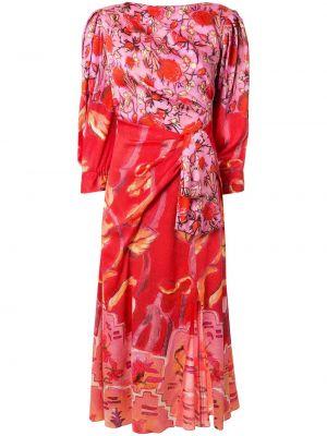 Платье миди с цветочным принтом красный Peter Pilotto