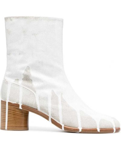 Białe ankle boots skorzane z printem Maison Margiela