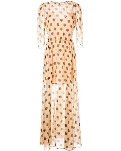 Бежевое расклешенное платье с вырезом эластичное Bianca Spender