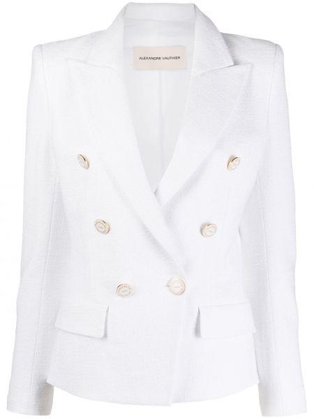 Белый пиджак двубортный с карманами Alexandre Vauthier