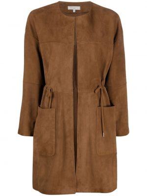 С кулиской коричневое кожаное длинное пальто Antonelli