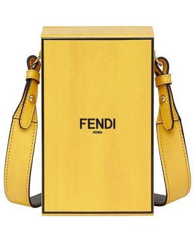 Желтая кожаная сумка на плечо с декоративной отделкой Fendi