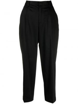Хлопковые черные укороченные брюки стрейч Woolrich
