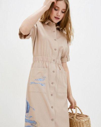 Бежевое платье-рубашка Ricamare