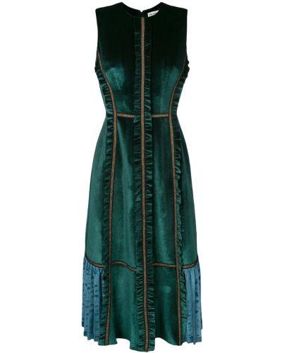 Платье с оборками без рукавов Self-portrait